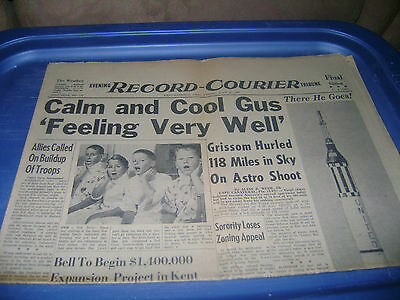July 21,1961 Record Courier newspaper Gus Grissom Spaceflight