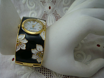 Vintage Joan Rivers White Gardenia Black White Enamel Bangle Watch Bracelet