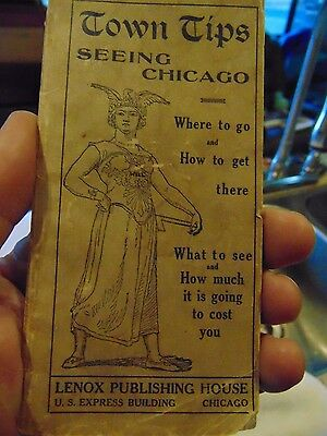 Antique 1902 Town Tips Booklet With Map Of The Business Portion Of Chicago