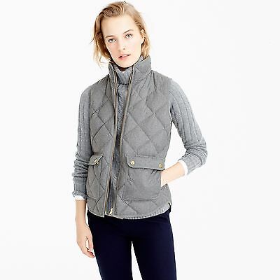 NWT J. Crew Excursion Quilted Down Vest Wool Flannel Gray Heather Graphite Sz S