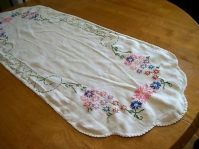 Antique Handmade Table Runner Scarf of Sackcloth Embroidered, Crochet Edge 14x39