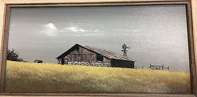 Original  Oil Painting Of Old Barn And Windmill Signed  J Doody