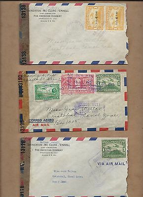 Nicaragua airmail to Canal Zone censored (3 covers, one price)