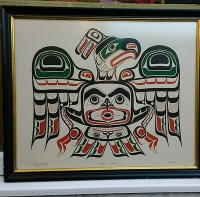 Canadian Art Folk Art Innuit Tony Hunt 1973 ltd edition 'Kwakiutl Kolus' SUPERB