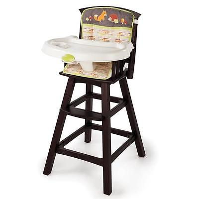Fox And Friends Brown Wooden Baby High Chair With Feeding Tray