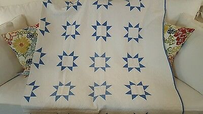 """Antique Quilt Star Pattern Blue and off White Large 92"""" x 70"""" for Queen / Double"""