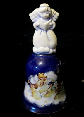 """Holiday Bell  -  Avon """" Christmas 1992"""" With Angel Handle - Cobalt Blue"""