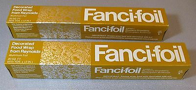 70's Reynolds 2 Sealed Boxes Fanci Foil Buttercup Gold Decorated Food Wrap NIB's