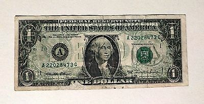 1995 $1 US Currency Note {Offset Printing ERROR - Printing from Back on Front}