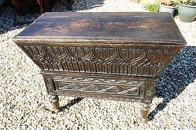 ANTIQUE JACOBEAN DOUGH BIN,Coffer,Old Trunk,Chest,Ornate,Carved,Panels