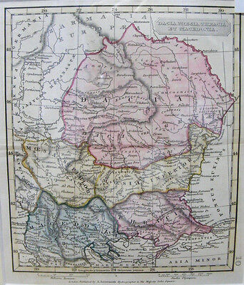 BULGARIA AND ROMANIA HAND COLOURED ANTIQUE MAP BY A. ARROWSMITH c.1830