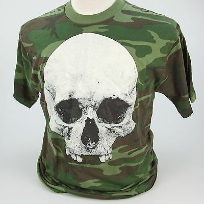 Skull Camouflage T-Shirt Vintage Early 80s XL Tee