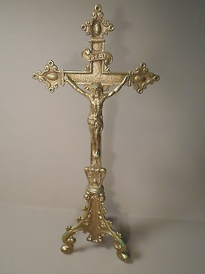 """Vintage Antique Gold Toned Brass Crucifix 12"""" Tall Religious Cross"""