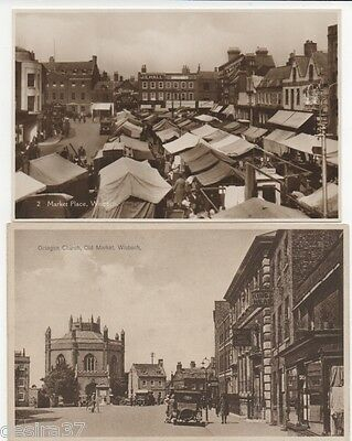 Cambridgeshire Postcards Wisbech Market Place & Octagon Church Old Market 2Cards