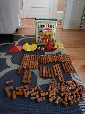 100 Pc Lincoln Logs Set Frontier Junction K'nex Wood Fort Roof Cowboy Horse Toy