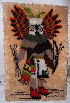 Vtg Kachina Latch Hook Rug Wall Hanging Native American Indian Hopi Eagle Dancer