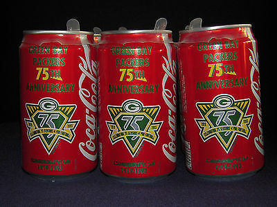 1919-1993 GREEN BAY PACKERS 75th Anniversary COKE 12 oz. Can Vtg NFL Soda Empty