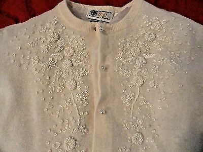 Women's Cecile Bermuda Vintage Embroidered Cream Sweater Jacket Size 38 S M