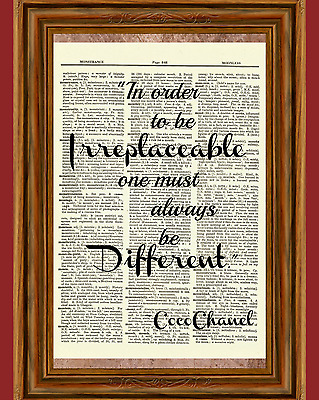 Coco Chanel Dictionary Art Print Picture Poster Irreplaceable Different Quote