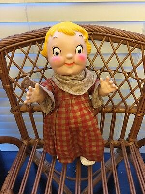 Antique Campbell Soup Doll In Old Doll Dress Rubber Shoes