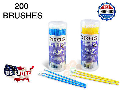 200 Micro Applicator Microapplicators Microbrush Dental - 100 MEDIUM / 100 SMALL