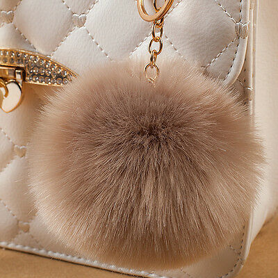 Lovely Ball PomPom Key Ring Women Car Keychain Handbag Key Chain Pendant Khaki