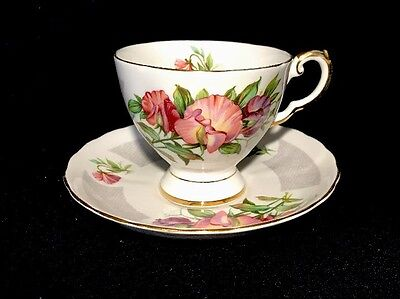 Tuscan Birthday Flowers Aprils Sweet pea Tea Cup Set Bone China Made In England