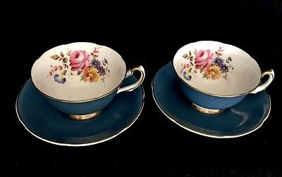 Royal Grafton Blue Tea Cups(pair) With Flowers Made In England