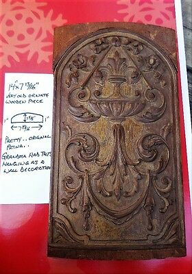 Grandpa's Antique Wooden Wood 19th Century Panel Ornate Hardwood Rare Scroll