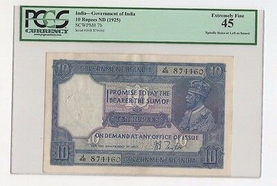 PCGS 45 India 10 Rupees P-7b 1925 British Administration Taylor Extremely Fine