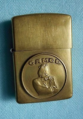 Vintage Brushed Brass ZIPPO Lighter Tuxedo Joe Camel 1932-1992 60th Anniv.