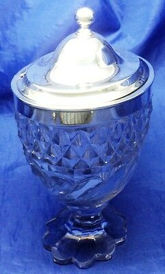 Georgian Solid Silver & Cut Glass Oval Preserve Pot By Richard Cook London 1802