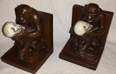 Darwin's The Thinking Monkey & Skull Bookends