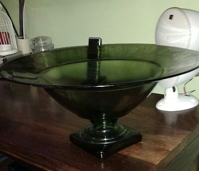 Large heavy clear green glass display bowl & 2 candle holders decorative vgc