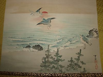 Baisai 19th/20th C Vintage Japanese 1800-1899/1900-1949 Scroll Ptg Shore Scene