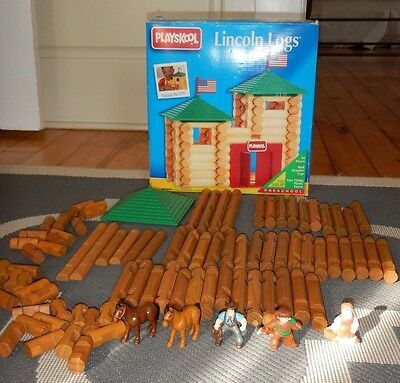 91 Pc Lincoln Logs Set Wood Fort Roof Playskool Toy Figures Cowboy Horse Wooden