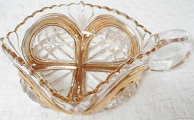 Antique Clear Cut Class Nappy Candy/Nut Dish Gold Rim