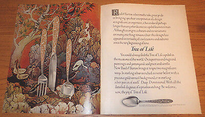 1974 Reed & Barton Sterling Silver Tree of Life Vintage Color Ad 1970s