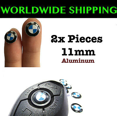 2x BMW REMOTE KEY FOB LOGO EMBLEM STICKER DECAL 2 Pieces 11mm New