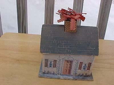 Vintage Cardboard Candy Container House With Chimney Fire ?? Unusual