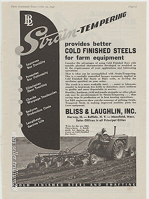 1947 Bliss & Laughlin B&L Steel Vintage Ad Case Tractor 1940s farming tractors