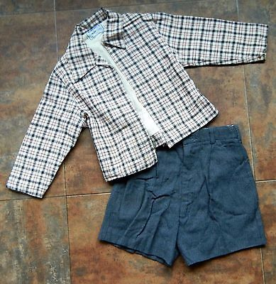 1950'S Vintage Boy'S Shorts Outfit: Gray Plaid Coat & Twigs Flannel Lined Shorts