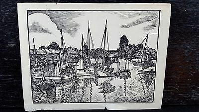 Original Vintage 20th Century American wood engraving print paper signed dated
