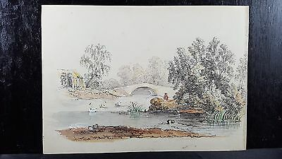 Original Antique 19th Century Drawing Engl charcoal watercolor Fisherman Swans