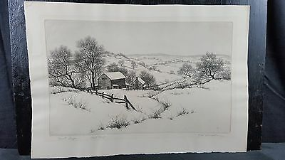 Original Vintage 20th Century etching R W Woiceske print proof American signed