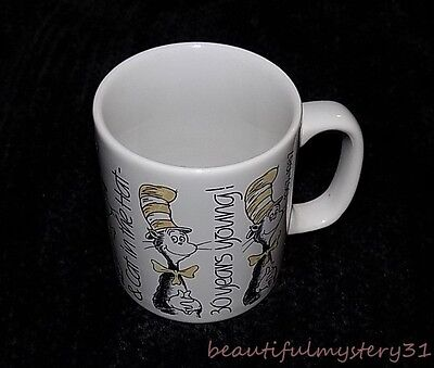 Dr Seuss Cat In The Hat Vtg 30 Years Young Birthday Staffordshire Coffee Mug