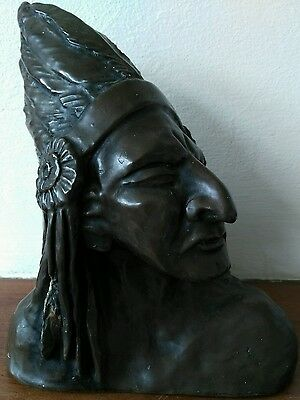 Native American Indian Bust. Signed and Dated 1978.