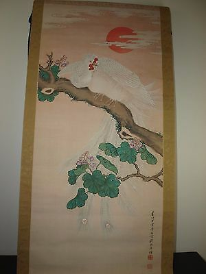 Original Antique Vintage 19th 20th C watercolor painting silk Japanese Scroll