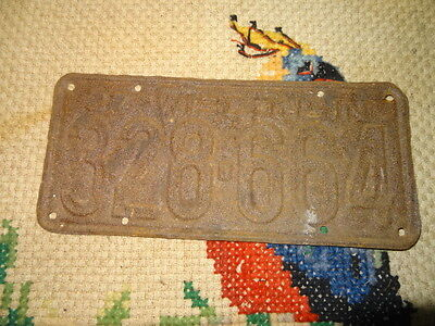 used rusty antique vintage license 1937 wis plate 328-664