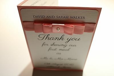 Personalised Wedding Menu Cards - A6 Handmade Luxury Cards - Choice of Colours